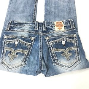 Rock revival Leatis relaxed straight men's jeans